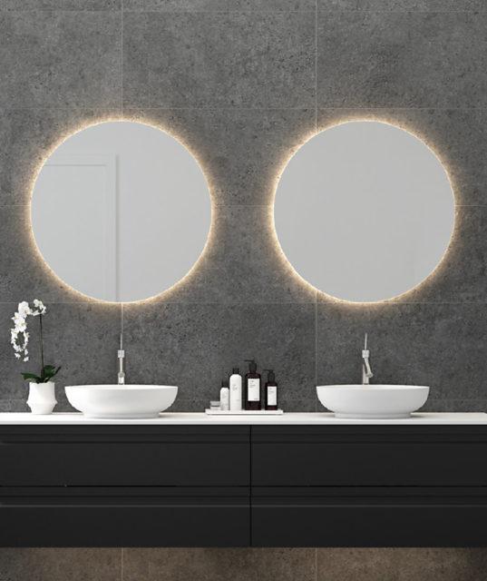 Rundt speil med LED Dansani