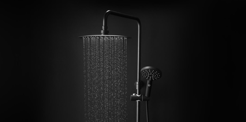 Dusjløsninger fra Gustavsberg Estetic Showerpipe sort